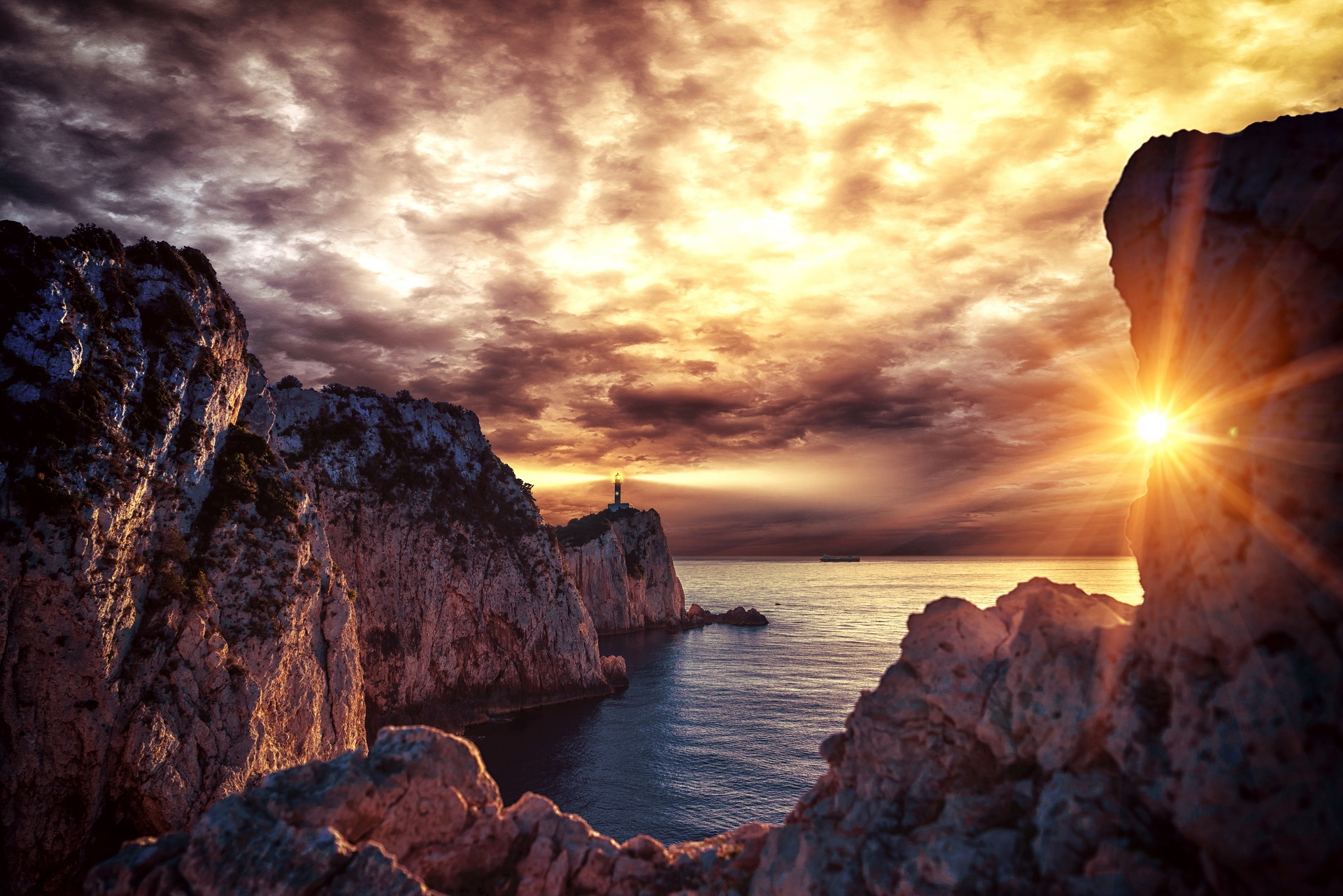 Lighthouse at sunset in Lefkada
