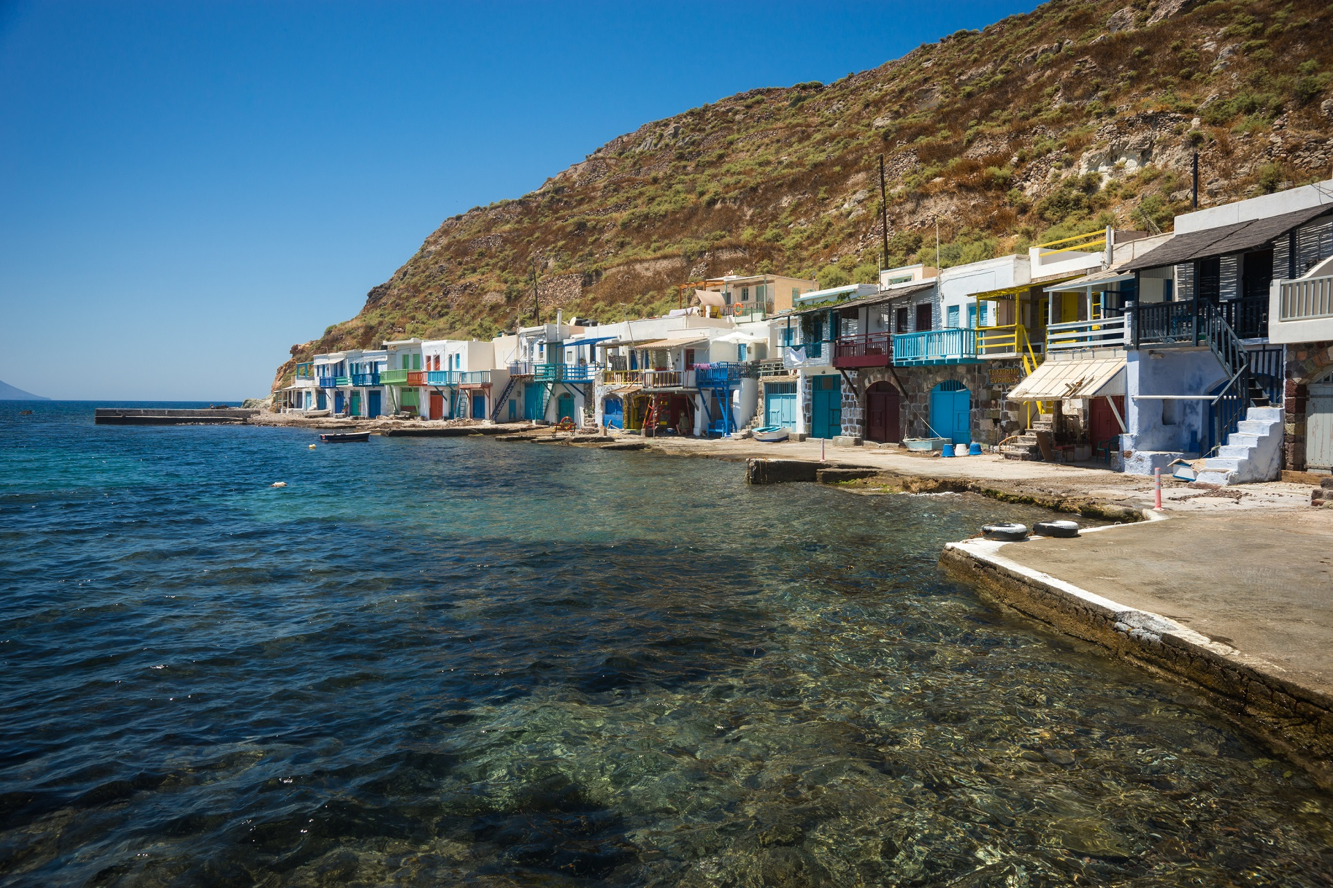Picturesque fishing village of Klima on the island of Milos, Greece