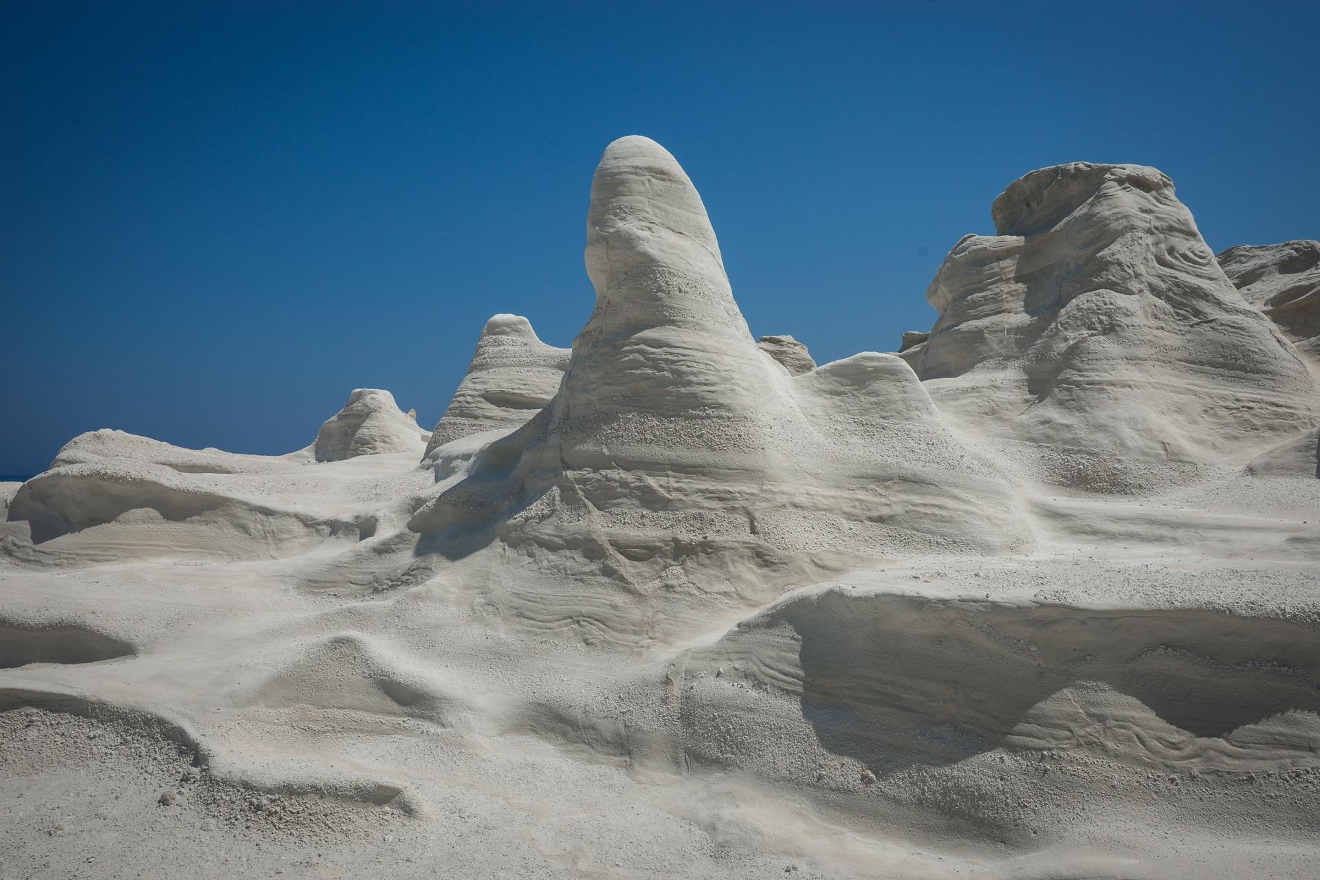 Unique white moonscape beach Sarakiniko, Milos, Greece