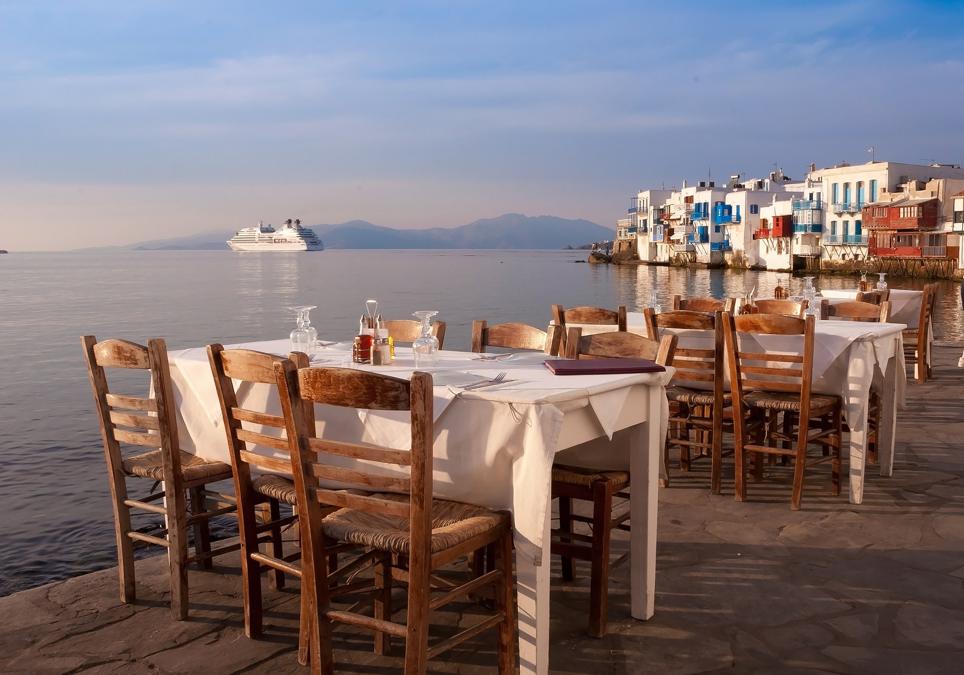 Restaurant at Little Venice on the island of Mykonos in Greece