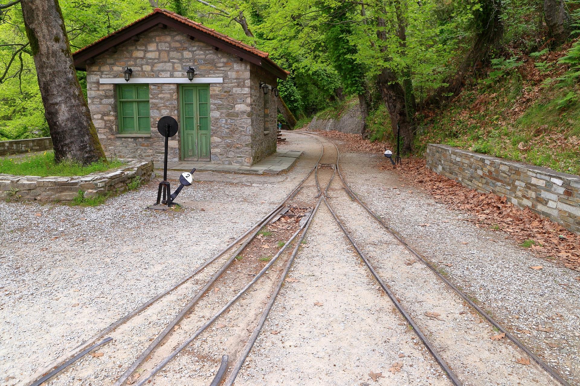 Old railway station and iron switch near Milies, Pelion peninsula