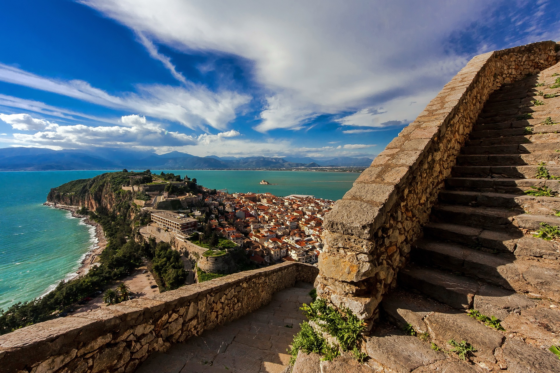A panoramic view of the city of Naplion - Greece, from the upper steps (999 of them) that lead to the medieval castle of Palamidi