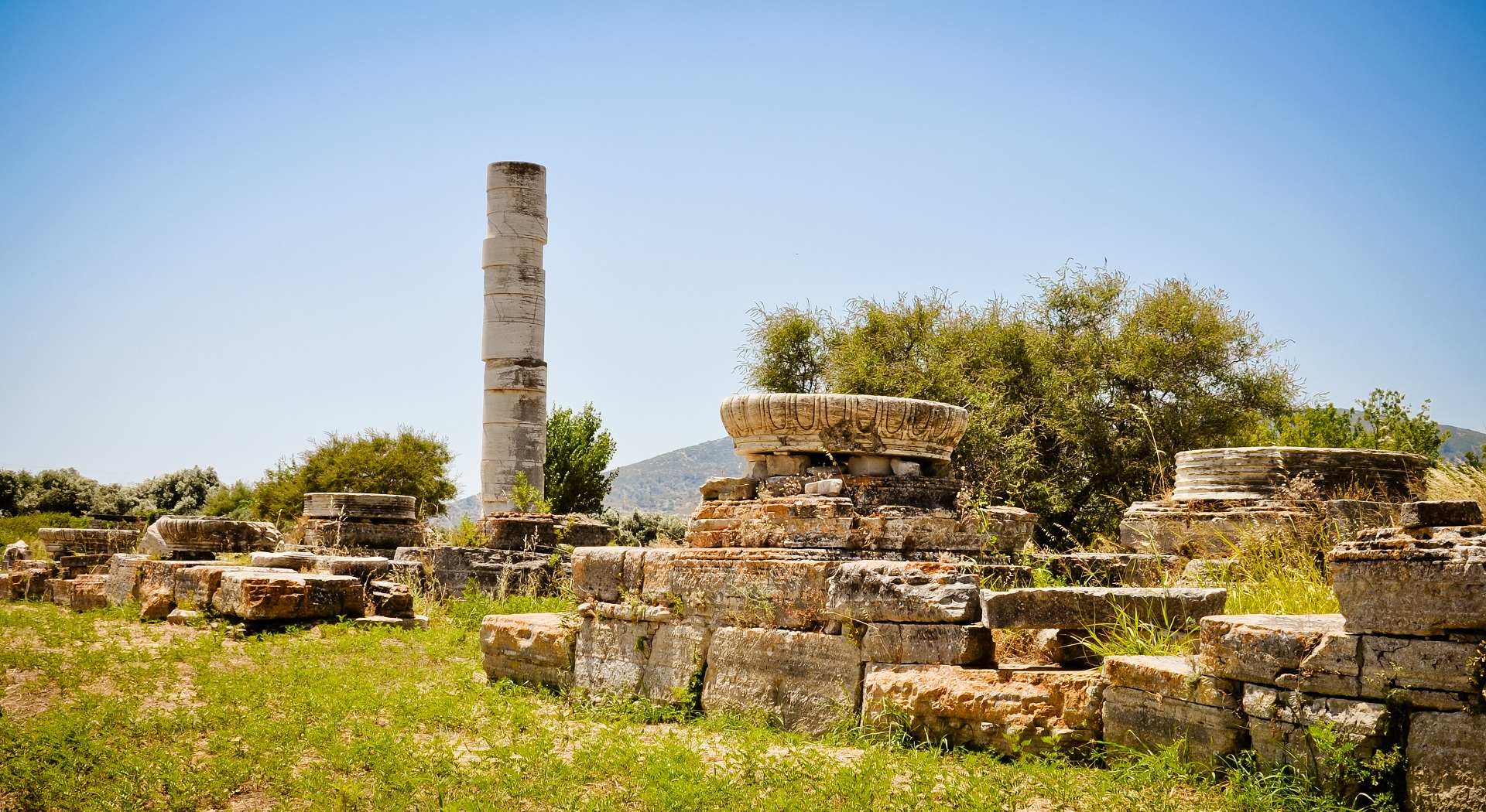 Remains of the ancient sanctuary of the goddess Hera located near town of Pythagoreion, Samos